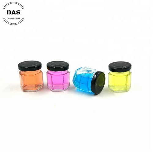 Tarro de mermelada de vidrio mini hexagonal