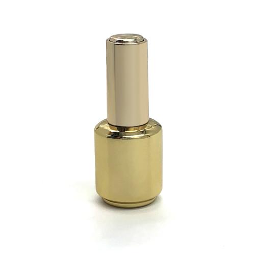 Botella de esmalte de uñas vacía de 15 ml con brocha y tapa dorada