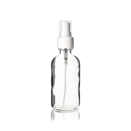 Boston Round Bottle- w/White Fine Mist Spra