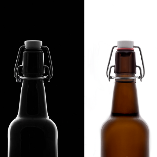 Botellas de cerveza de ámbar