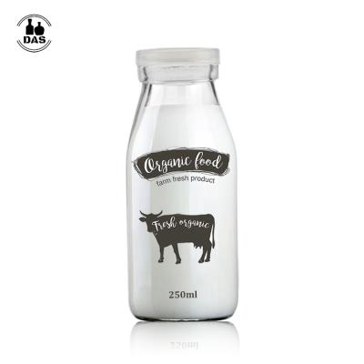 Glass Milk Bottle With plastic cap