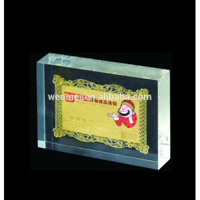 Custom acrylic paperweight sign logo block with embedment