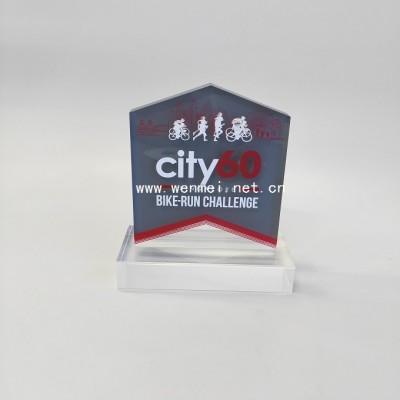 Fashion engraved logo plexiglass trophy  Acrylic award/acrylic trophy