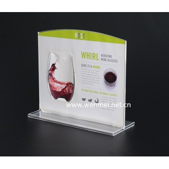 Propaganda sign display holder t-shaped price card double sided stand Up Acrylic desk Sign holder