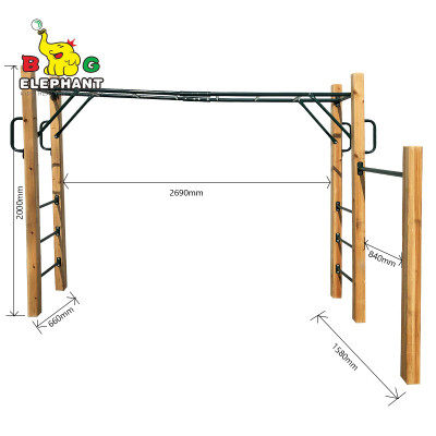 Wooden Outdoor Jungle Obstacle Course Monkey Bar Kit for Kids Gym Equipment