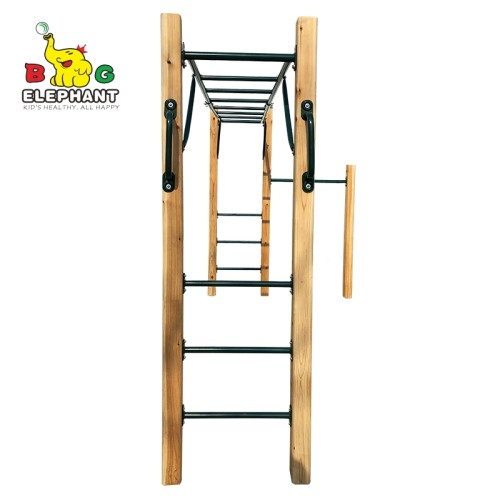Wooden Monkey Bar Kit for Kids   Outdoor Jungle Obstacle Course Kits   Gym Equipment for Kids, Teens