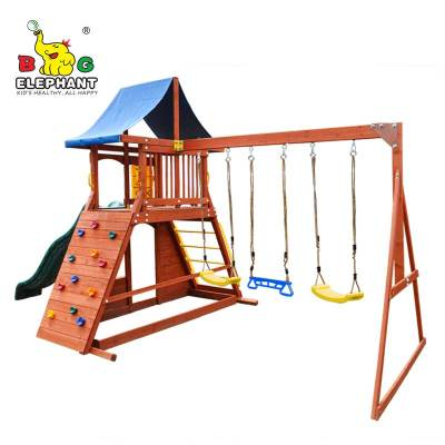 Wooden outdoor playground equipment swing set for children