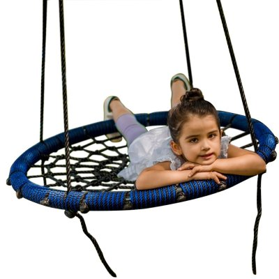 31 inch Blue Spider Web Tree Swing Outdoor Round Net Rope Swing Attaches to Trees Swing Sets Fun for Multiple Kids or Adult