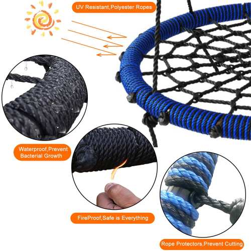 Green Spider Web Tree Swing Outdoor Round Net Rope Swing Attaches to Trees Swing Sets Fun for Multiple Kids or Adult
