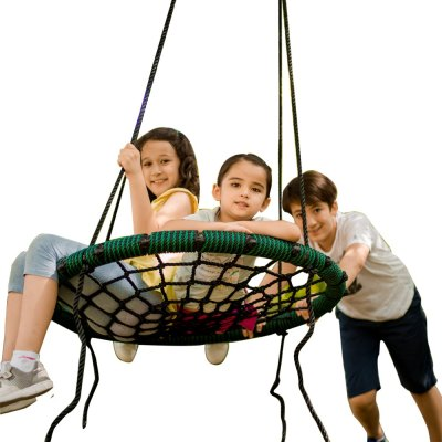 31 inch Green Spider Web Tree Swing Outdoor Round Net Rope Swing Attaches to Trees Swing Sets Fun for Multiple Kids or Adult