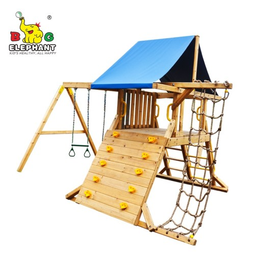 Wooden Playground - Outdoor Swing Set Playsets with Climbing Net for Kids