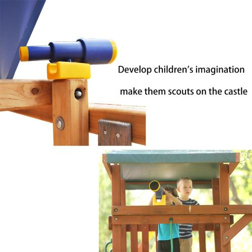 Safety Outdoor Wooden Double Play Center Slide Swing Set For Children