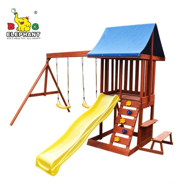 Garden Wooden Play Set with Plastic Slide