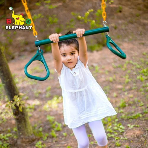 Garden Gym Ring Trapeze Bar Swing with Rings and PVC Coated Chains