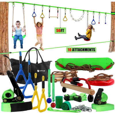 Ninja Warrior Line Hanging Obstacle Course for Kids Activities