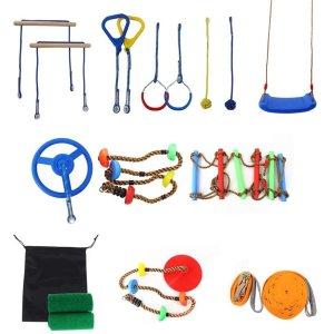 Ninja Warrior Line Hanging Obstacle Course for Kids Activities