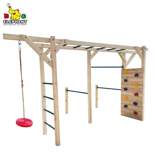 6 in 1 Wooden Fitness Equipment Monkey Bar with Climbing Ladder and Dic Swing
