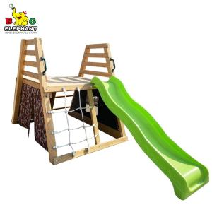 Wooden Playground Slide Set with Climbing Rope and Swing for Kids