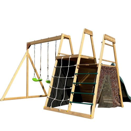 Outdoor Wooden Swing Set with Climbing Net and Slide