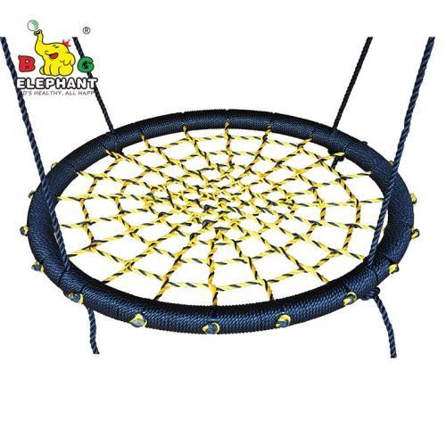 Spider web tree swing for kids, net saucer swing for swingset - multicolor