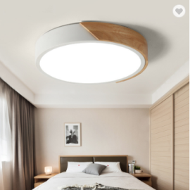Round ceiling lamp with wood . 20W/28W/36W/48W