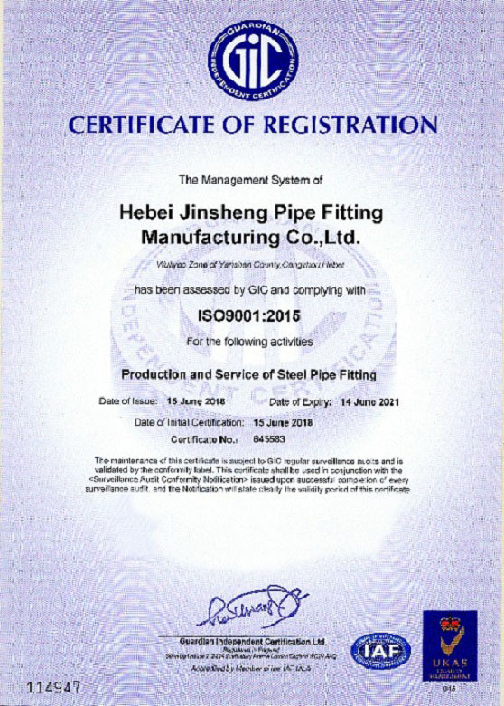 ISO 9001 : 2015 of JS FITTINGS