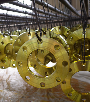 yellow painted plate flanges