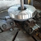 Lathe machine processing of threaded flanges
