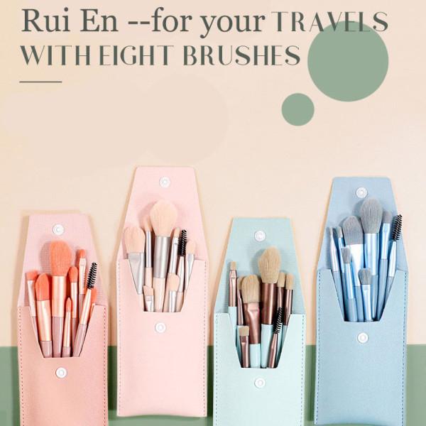 8pcs/set travel portable Makeup Brush Kits Wholesale professional makeup brush with leather case