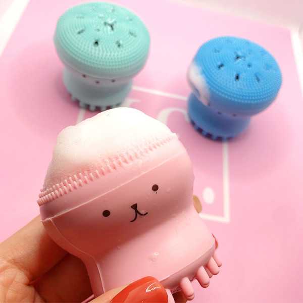 Small octopus best silicone face brush to blackhead pores clean portable face wash brush cleansing brush massage face wash artifact
