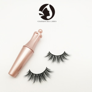 best false natural long strip eyelashes with eyelash applicator eyelash glue private label