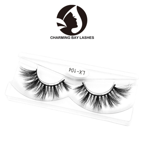 100% real single customized private label 3d real mink fur eyelash with packing box