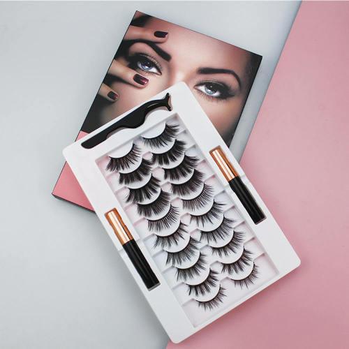 new styles 10 pairs of mixed magnetic eyelash two bottle magnetic eyeliner set natural and dense magnetic false eyelashes