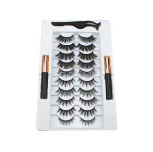 new styles 10 pairs of mixed magnetic eyelash two bottle magnetic eyeliner set natural and dense magnetic false eyelashes