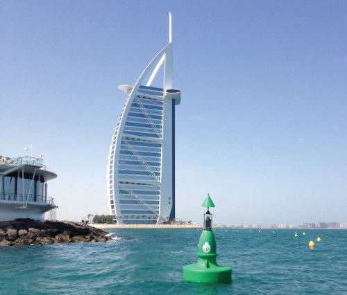 Ultrahigh Molecular Weight Polyethylene Ocean Lateral Mark Buoy With Hexagonal Aluminium Tower