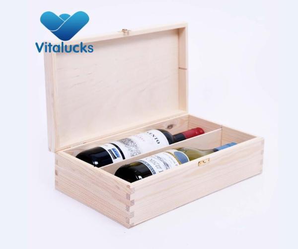 Customized unfinished pine wooden wine box