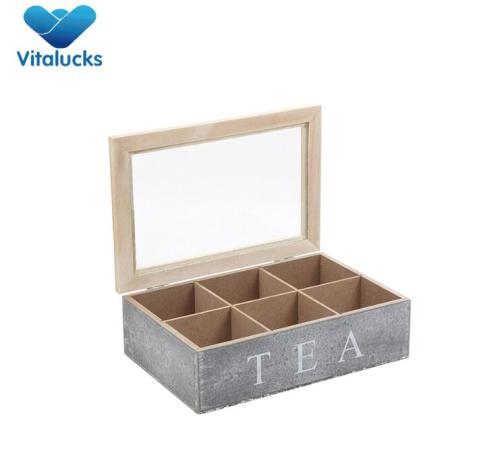 High quality wooden tea box with transparent window