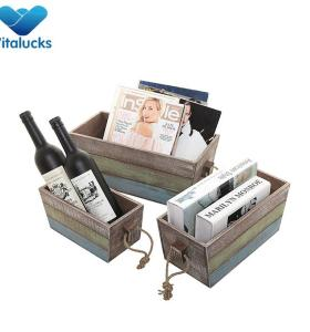 Customized painting wooden crates with rope handle set3 nested