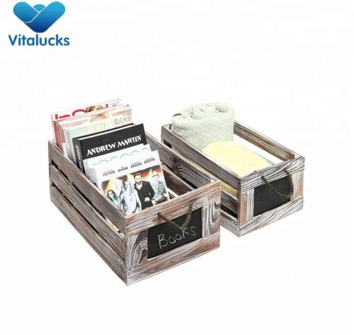 Wholesale wooden crates with handle and chalkboard