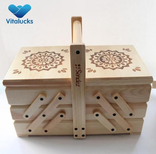 Factory price sewing storage tool wooden sewing box with handle