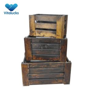 Nesting wood crates 3 sizes dark brown pine solid wood for decoration
