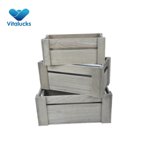 Wooden crates box vintage rustic 3pcs/set nested packing