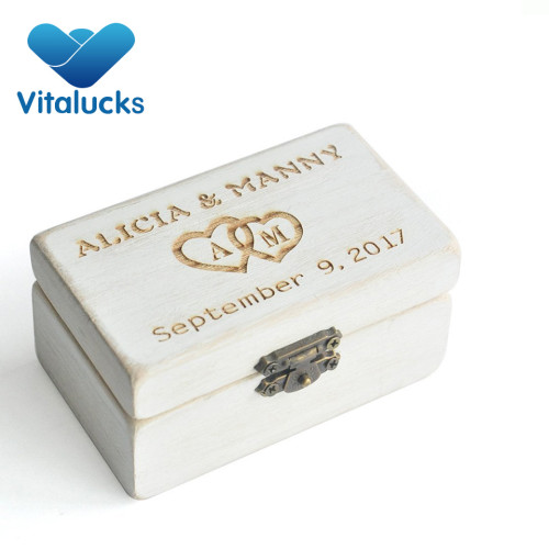 Wooden keepsake box for ring rustic finish  gift box
