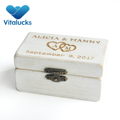 Wooden keepsake box for ring rustic finish  gift box