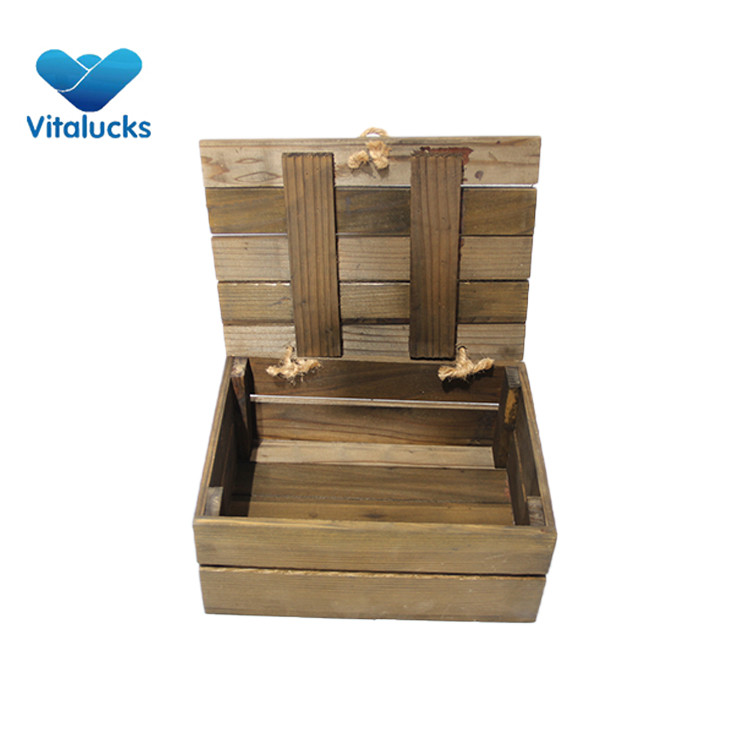 hinged lid crate wood box