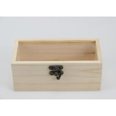 Wooden display box with window pine wood unfinished hinged lid