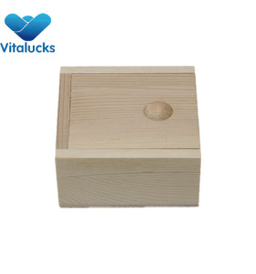 Small unfinished wooden sliding lid box