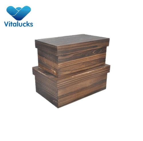 Set 2 storage wooden boxes toy nested packing