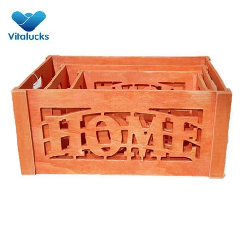 Decorative storage wooden crates set 3 colored finish
