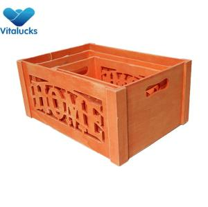 Decorative storage wooden crates set 3 colored finish